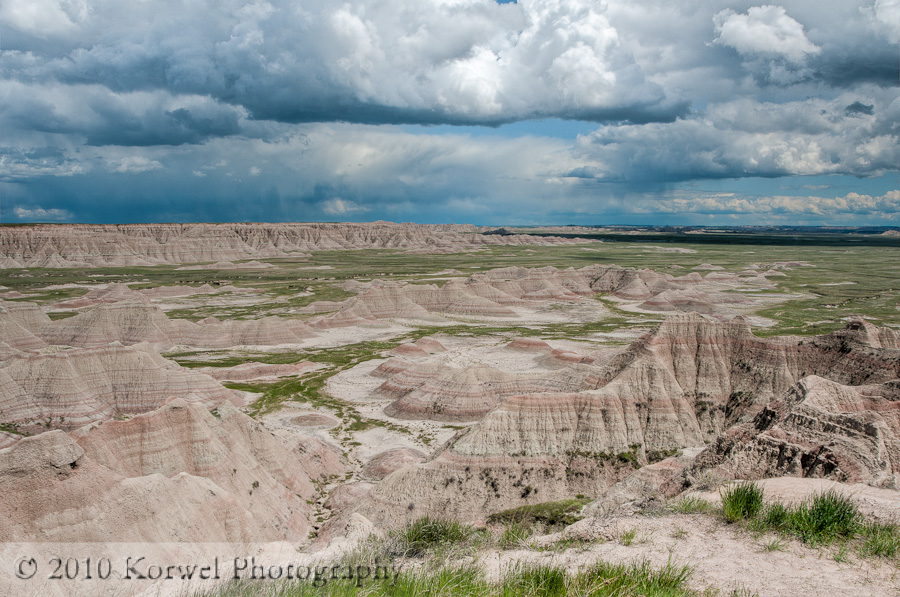 Big Badlands Overlook under stormy clouds