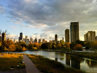 Chicago skyline in fall