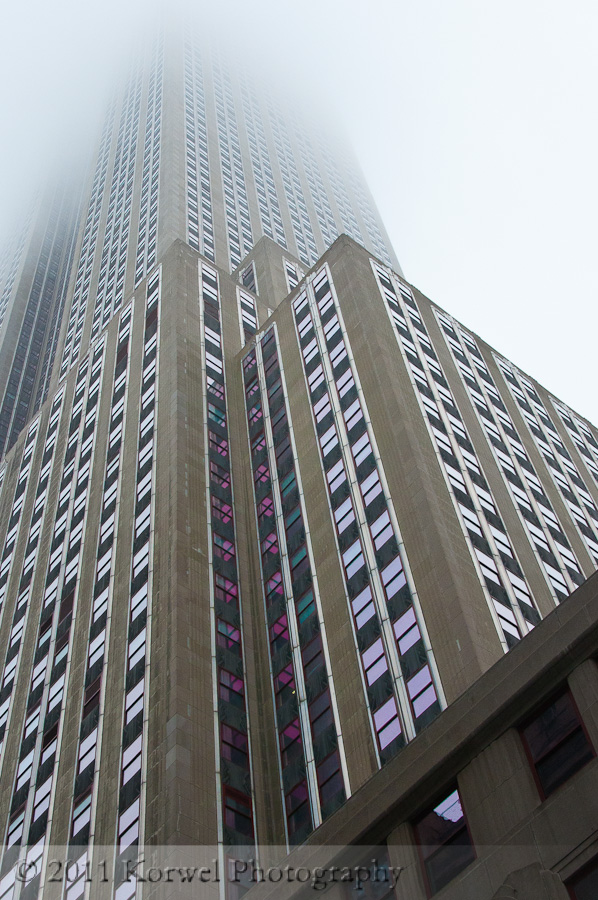 Empire State Building in the fog, NYC