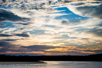 Clouds and sunset over Coralville Lake, Iowa