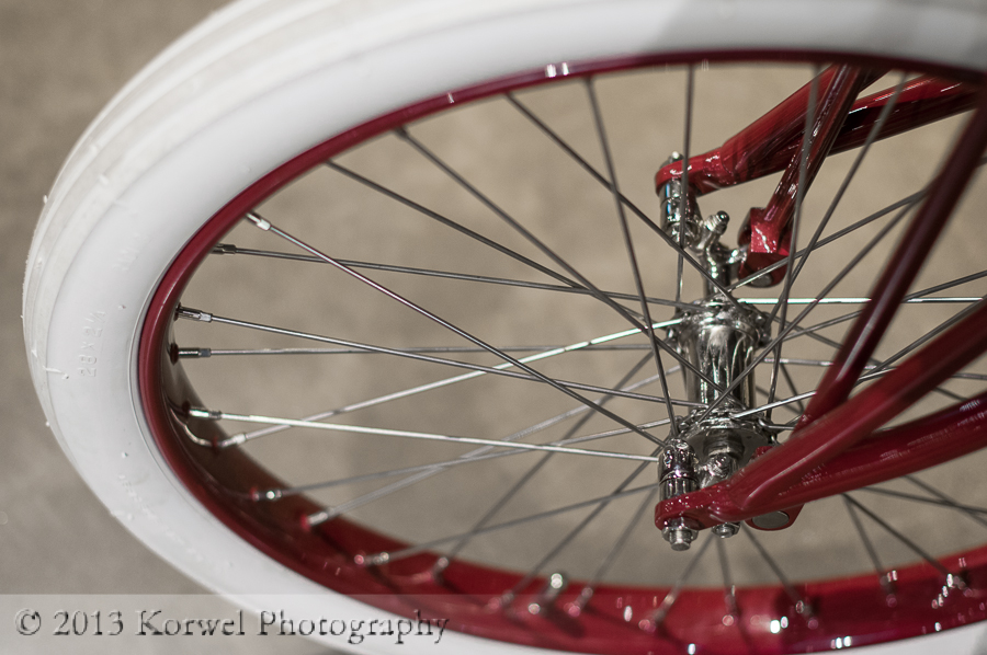 Red bicycle wheel at National Motorcycle Musuem, anmosa, Iowa
