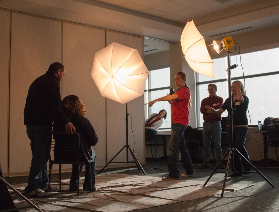 Kylyn Hoskins and her assistants at work at Cedar Rapids Help Portrait