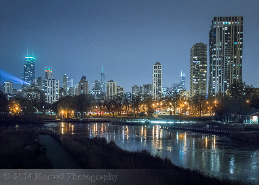 Cold winter night in Chicago