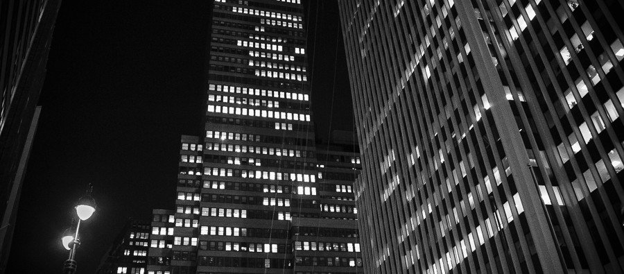 Avenue of the Americas (6th Ave) in NYC at night. Delicious BW Portrait Special, Sharpen Crispy and Vignette 04 Cornero.