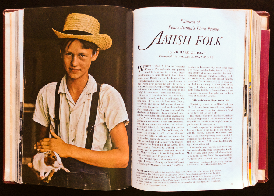 NatGeo August 1964 - Amish by WA Allard 1st page