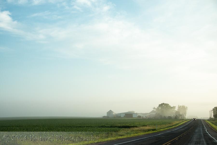 Farm on a foggy morning