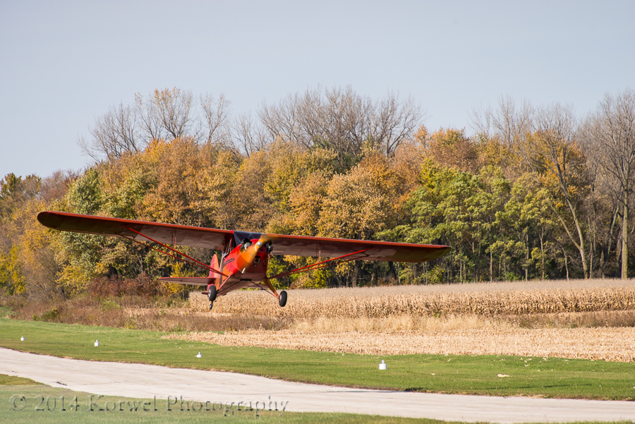 Taylorcraft taking off Green Castle, Oxford, Iowa